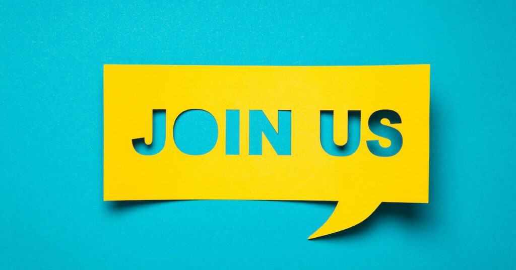 "Yellow cut-out text on a blue background saying ""join us"""